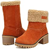 DOTACOKO Women Cute Warm Short Boots Suede Chunky Mid Heel Round Toe Winter Snow Ankle Booties Orange Size 8