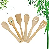 6 Piece Wooden Cooking Spoons Natural Bamboo Nonstick Kitchen Utensils Spatula Sets for Cooking, Kitchen Gadgets