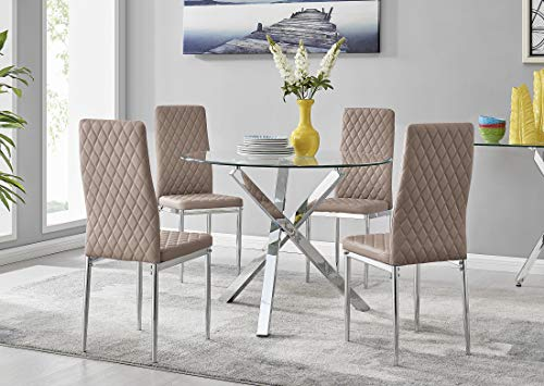 Selina Modern Stylish Round Square Leg Metal And Clear Glass Dining Table And 4 Contemporary Milan Dining Chairs Set (Dining Table + 4 Cappuccino Grey Milan Chairs)