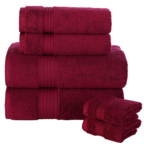 Peshkul Towels - Juego de toallas de mano de algodón 100%, 2 toallas de baño, 2 toallas de mano y 2 toallas de invitados, 550 g/m² (borgoña)