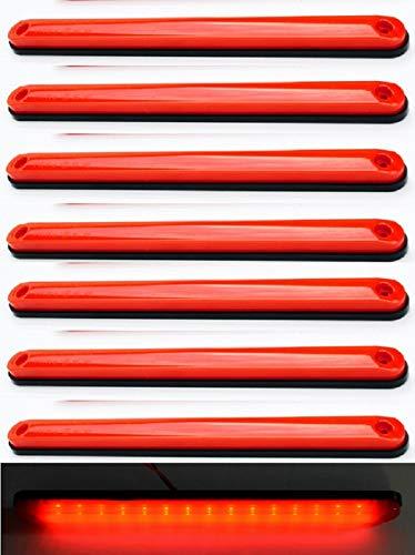 8 luces LED de 24 V de color rojo neón para posición trasera de camión, remolque, caravana, caravana o caravana