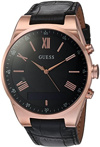 GUESS Men's Stainless Steel Connect Smart Watch - Amazon Alexa, iOS and Android Compatible, Color: Black (Model: C0002MB3)