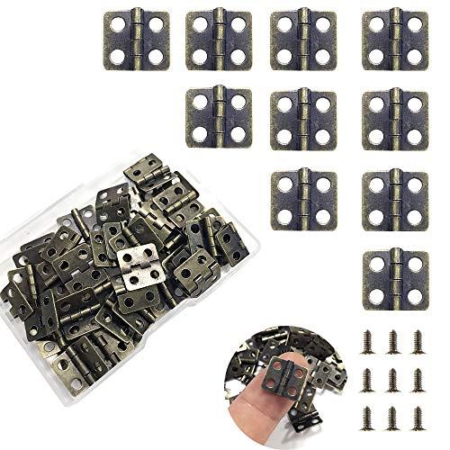 Daimay 50 Piezas Mini bisagras de cobre Bisagras de latón retro con 200 piezas de uñas de repuesto para caja de madera caja de cofre de joyas Accesorios de bricolaje para gabinetes - Bronce 13