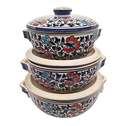 India Meets India Thanksgiving Handicraft Ceramic Serving Bowl with Lid Mixing Bowls Dinner Bowl Snack Bowl, 1000 ML, 600 ML, 400 ML, Best Gifting, Made by Awarded Indian Artisan