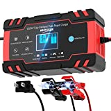 Onebuy Car Battery Charger 12V/8A 24V/4A Automotive Smart Battery Trickle Charger Maintainer for Car Motorcycle RV SUV Lawn Mower Boat RV SUV ATV Marine Sealed Lead Acid Battery and More
