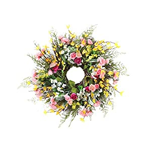 """Artificial Flower Wreath for Front Door 23.6"""" Spring Summer Wreath Large Silk Flowers Hanging Garland Pendant for Festival Celebration Home Wedding Farmhouse Holiday Decor"""