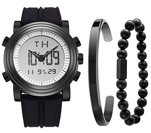 BUREI Herren Digital Sportuhr Analoge Stoppuhr LED Hintergrundbeleuchtung Lässige Armband für Schwarz 3PCS Uhrenset