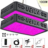 2-Packs LED Grow Light with Remote Control, UEIUA 1000W Full Spectrum Plant light for Indoor Plants with Multiple Functions including Temperature-Humidity Monitor/Group Control/Timing/Lamp Mode Switch