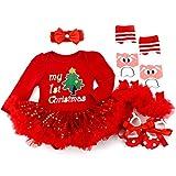 Mi Primer Atuendo del día de Navidad para niñas - 4 Piezas Disfraz Vestido de Fiesta Trajes de tutú