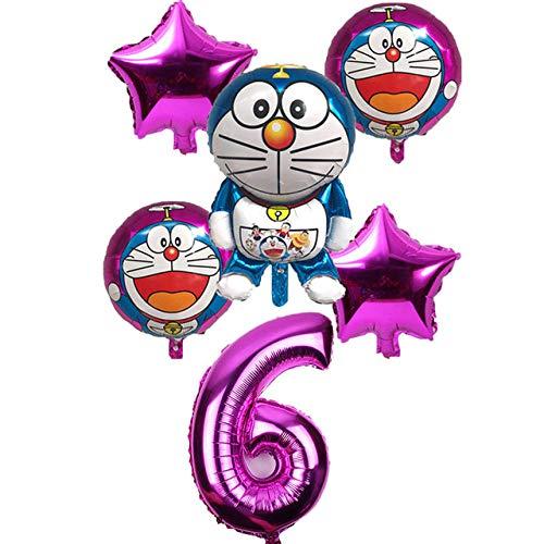6 unid / Set Doraemon número 32 Pulgadas Globos aerostáticos Jingle Cat Helium Balloon Wedding Decor Happy Birthday Party Supplies Balloon Rose Red 6