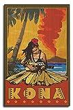 Lantern Press Kona, Hawaii - Hula Girl and Ukulele (10x15 Wood Wall Sign, Wall Decor Ready to Hang)