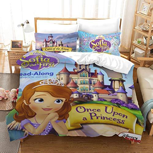Amacigana Sofia - Juego de cama infantil (3 piezas, 135 x 200 + 50 x 75 cm), diseño de Sofía