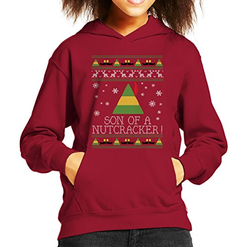 Son Of A Nutcracker Elf Quote Christmas Knit Kid's Hooded Sweatshirt