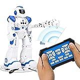 LUSHUN Juguetes Robot Inteligente ProgramaciónInteligente Gestos Control Robots Recargable Multifuncionales Robot de Radiocontrol, Caminar, Control Remoto, Bailar, Cantar, Leer Historias,Azul