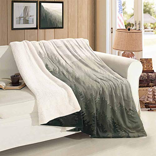 Fashion Throwing Blanket Throw Size Northern Parts of The World with Coniferous Trees Scandinavian Woodland Lightweight Super Soft Comfort Throws Blankets for Couch Bed Living Room 59 x 31 inch