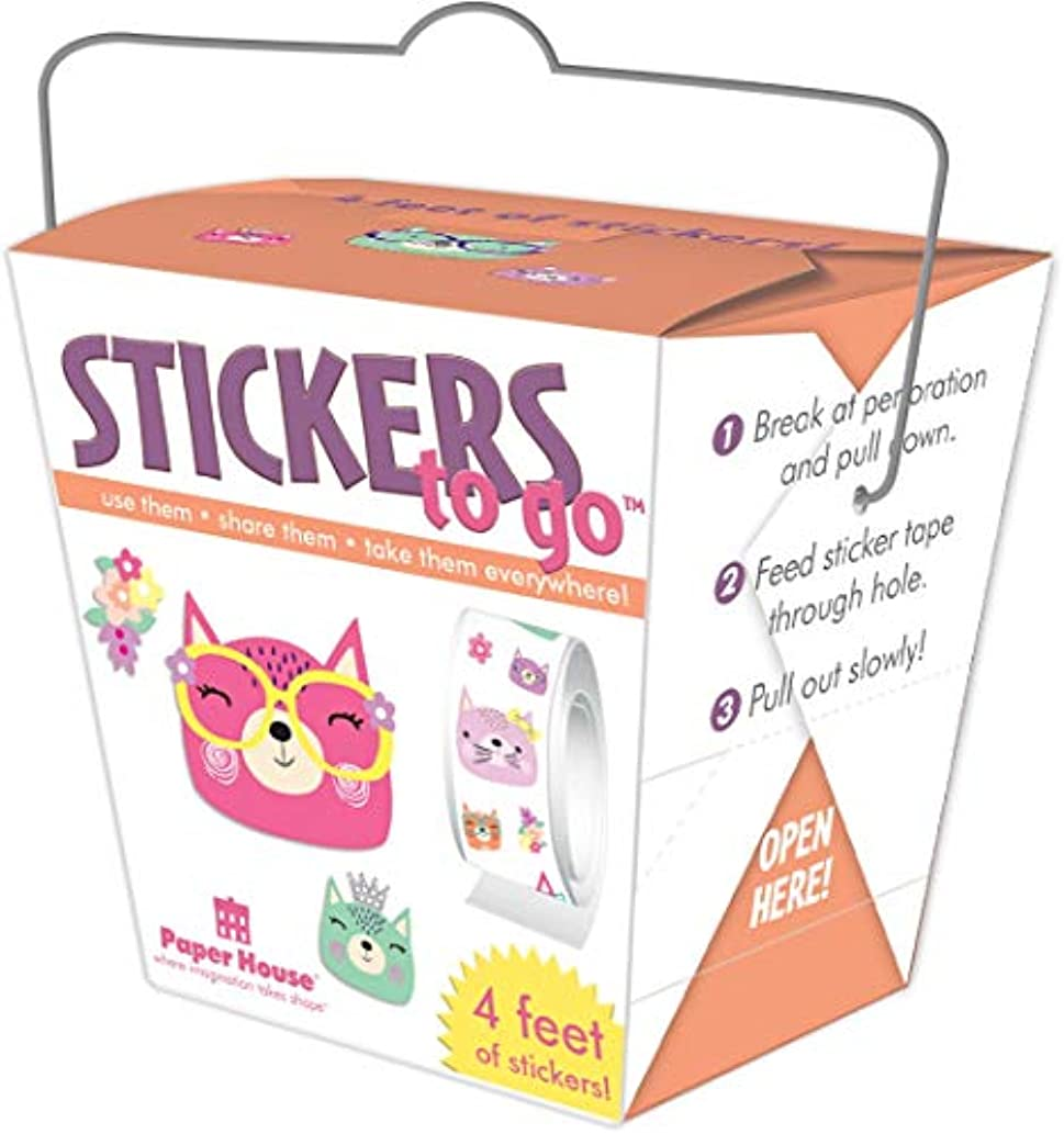 Paper House STTG-0019 Stickers to Go 4ft Roll-Cat Faces
