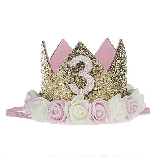 Golden Swallow Birthday Crown Baby Girl Flower Tiara Headband Party Hat Hairband
