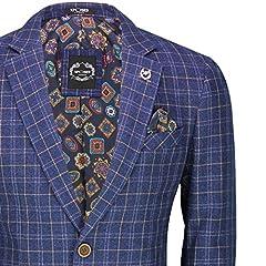 Xposed Mens Retro Tweed Check Blazer Vintage Smart Tailored Fit Suit Jacket in Brown Blue[BLZ-Juan,Navy Blue,38] #1