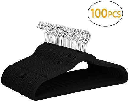 Yaheetech 100 Pcs 45cm Standard Non-Slip Velvet Coat Hangers 360° Swivel Hook (Black)