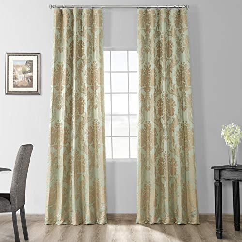 HPD Half Price Drapes JQCH-201272-108 Designer Damask Curtain (1 Panel), 50 X 108, Jade & Gold