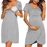 ADOME Nachthemd Damen Lang Stillnachthemd Modal Nachtkleid Umstandskleid Kurzarm Pyjama Negligee mit Taschen und Knopfleiste Grau L