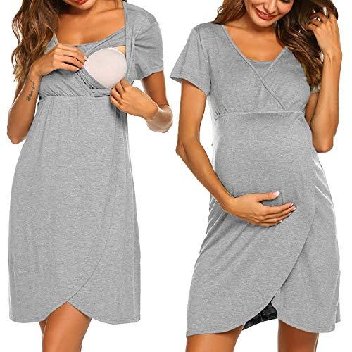 Pijama corto para embarazadas, para mujer, para otoño e invierno Gris claro corto. XL