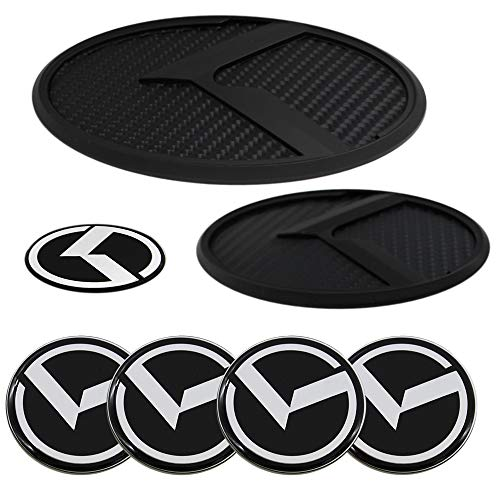Chuangzhi Sales 7PCS fit KIA Emblem Stickers with Front Tailgate Stickers Steering Wheel Badge Wheel Center Cap Decal for Car Accessories Set (Black Carbon Fiber)