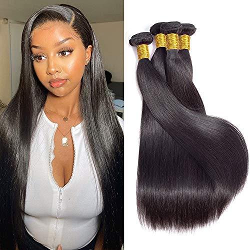 10A Straight Human Hair Bundles (30 30 30 30 Inch) 100% Virgin Brazilian Hair 4 Bundles Straight Weave Hair Human Bundles Unprocessed Remy Hair Bundles