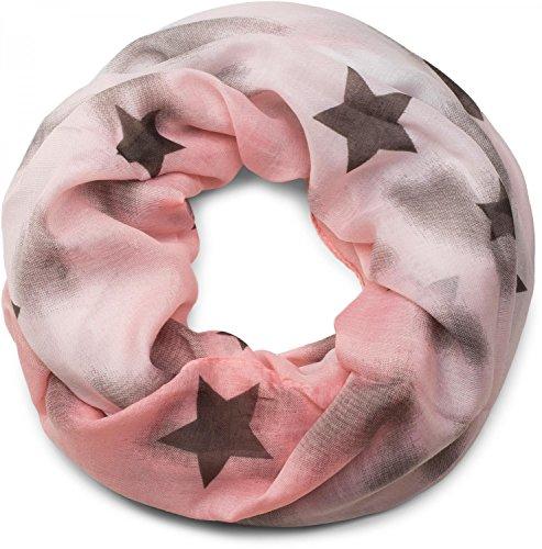 styleBREAKER Loop Schlauchschal mit Sterne und Vintage Farbverlauf Muster, Schal, Tuch, Damen 01017034, Farbe:Apricot-Weiß