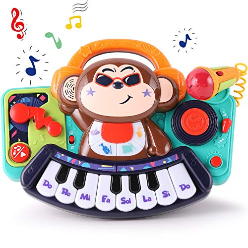 iPlay, iLearn Baby Music Toy, Monkey Electronic Piano Keyboard Toys, Toddler Musical Band Activity Center W/ Lights & Sounds, , Learning Gifts for 18 24 Months, 1 2 3 Year Old Kids Infants Girls Boys