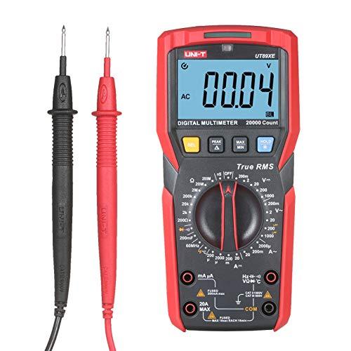 Montloxs UT89XE Multímetro digital LCD de 2,8 pulgadas, 20000 cuentas, verdadero valor eficaz, portátil, de alta precisión, universal, voltímetro, amperímetro, LPF, ohmios, voltios, amperios, diodos y