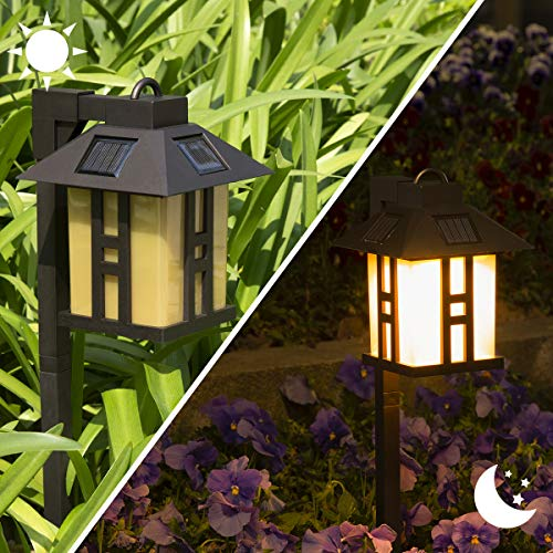 Solpex 2 Pack Solar Garden Lights, Warm White Garden Lights Solar Powered, Waterproof Solar Yard Lights for Lawn, Patio, Yard, Pathway, Walkway and Driveway