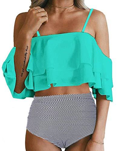 Tempt Me Green Swimsuits for Women High Waisted Bikini...