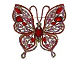TTjewelry Vintage Butterfly Insect Gold-Tone Brooch Pin Red Austria Crystal Woman Jewelry