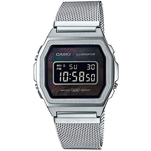 Casio Unisex Digital Quarz Uhr mit Edelstahl Armband A1000M-1BEF