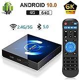 OKEU Android 10.0 TV Box 【4GB RAM+64GB ROM】QPLOVE Q6 TV Box H616 Quad-Core 64bit Cortex-A53 con 5GHz / 2.4GHz WiFi ,BT 5.0,6K UHD H.265 Smart TV Box