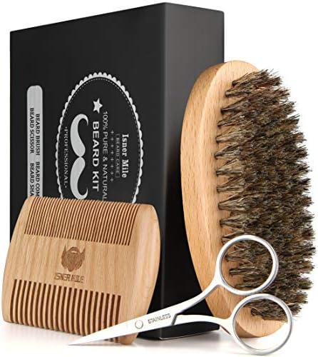 Isner Mile Beard Brush Comb Scissors Shaping Tool Kit for Men Beard Grooming Trimming Styling product image