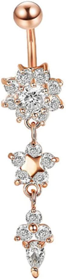 SEniutarm Stainless Steel Belly Button Ring Rhinestone Flower Navel Ring Piercing Jewelry Rose Golden + White