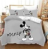 MICOLOD Disney Mickey Mouse Juego de cama de 2/3 piezas para niños, funda de edredón 3D Mickey y Minnie y funda de almohada...