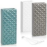 com-four® 3X humidificador de Aire 3X de cerámica - radiador evaporador para humidificar el Aire de la habitación - evaporador de calefacción con Motivo de Diamante (3 Piezas - Diamante)