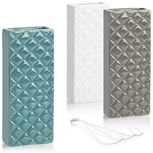 com-four® 3X Luftbefeuchter aus Keramik - Heizkörper-Verdunster zum Befeuchten der Raumluft - Wasserverdunster mit S-Förmigen Haken - Heizungsverdunster mit Diamant-Motiv (3 Stück - Diamant)