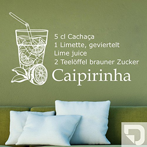 DESIGNSCAPE® Wandtattoo Caipirinha Cocktail Rezept 60 x 34 cm (Breite x Höhe) creme DW803142-M-F102