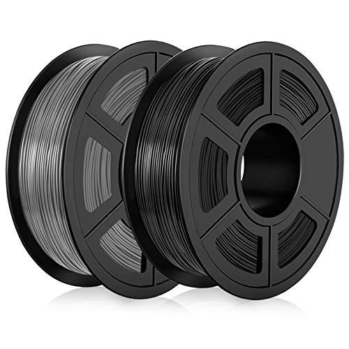 Filamento PLA 1,75mm, Filamento PLA Stampanti 3D 2KG, Upgraded PLA Nero+Grigio 2KG Spool