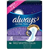 Always Ultra Thin Size 5 Extra Heavy Overnight, Unscented, 46 Pads