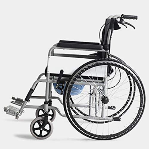 YASEking Silla de rehabilitación médica, silla de ruedas, silla de ruedas de conducción médica, ligero silla de ruedas plegable con aseo Ultraligero sillón de ruedas mayor de múltiples funciones de la
