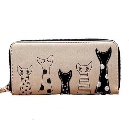 Valentoria®, portafoglio in finta pelle con portamonete con cerniera, da donna, design con fumetti, ideale come regalo di compleanno, Beige