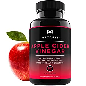 Apple Cider Vinegar Pills for Weight Loss – 60 ACV Capsules for Natural Detox Cleanse Diet – Extra Strength 1250mg Daily Supplement for Women & Men by METAFIT