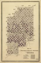1893 Map of Franklin County, Arkansas; showing the land grant of the Little Rock & Fort Smith Railway. Detailed county map showing relief by hachures, drainage, township and range lines, cities and to