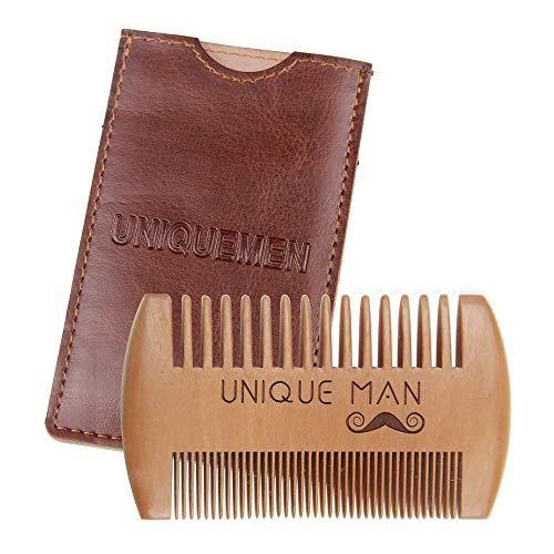 Uniqueman Pettine da barba in legno – Pettine tascabile per barba, perfetto da usare con balsami e oli, denti fini e grossolani, regalo per uomini, papà, marito e fidanzato