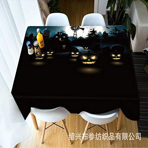 TWTIQ Citrouille Modèle 3D Lanterne Nappe Imperméable Épaissir Rectangulaire Nappe Ronde pour Nappe Halloween 140 * 140Cm / 55.2 * 55.2In